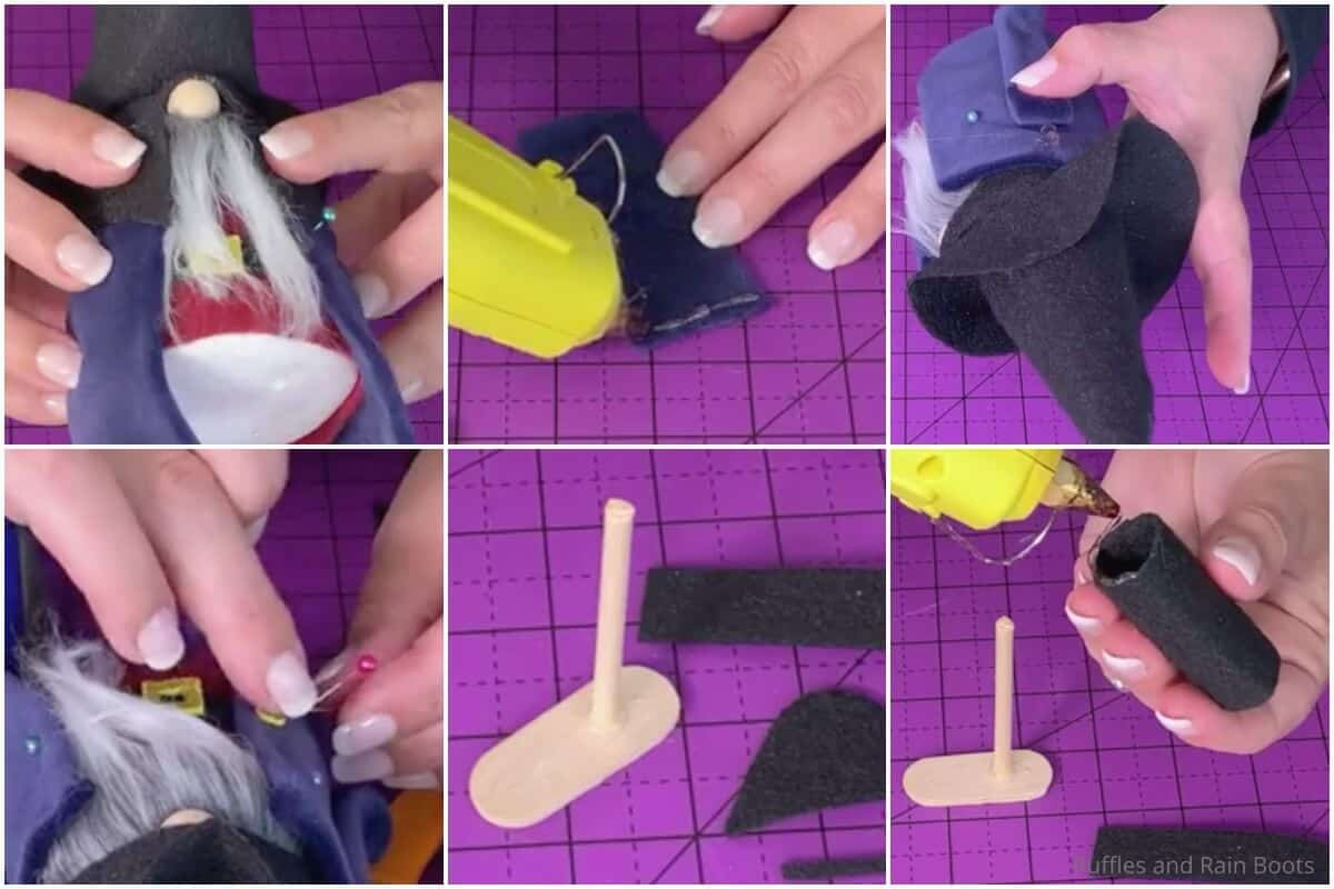 photo collage tutorial of how to make a gnome pirate for halloween 2