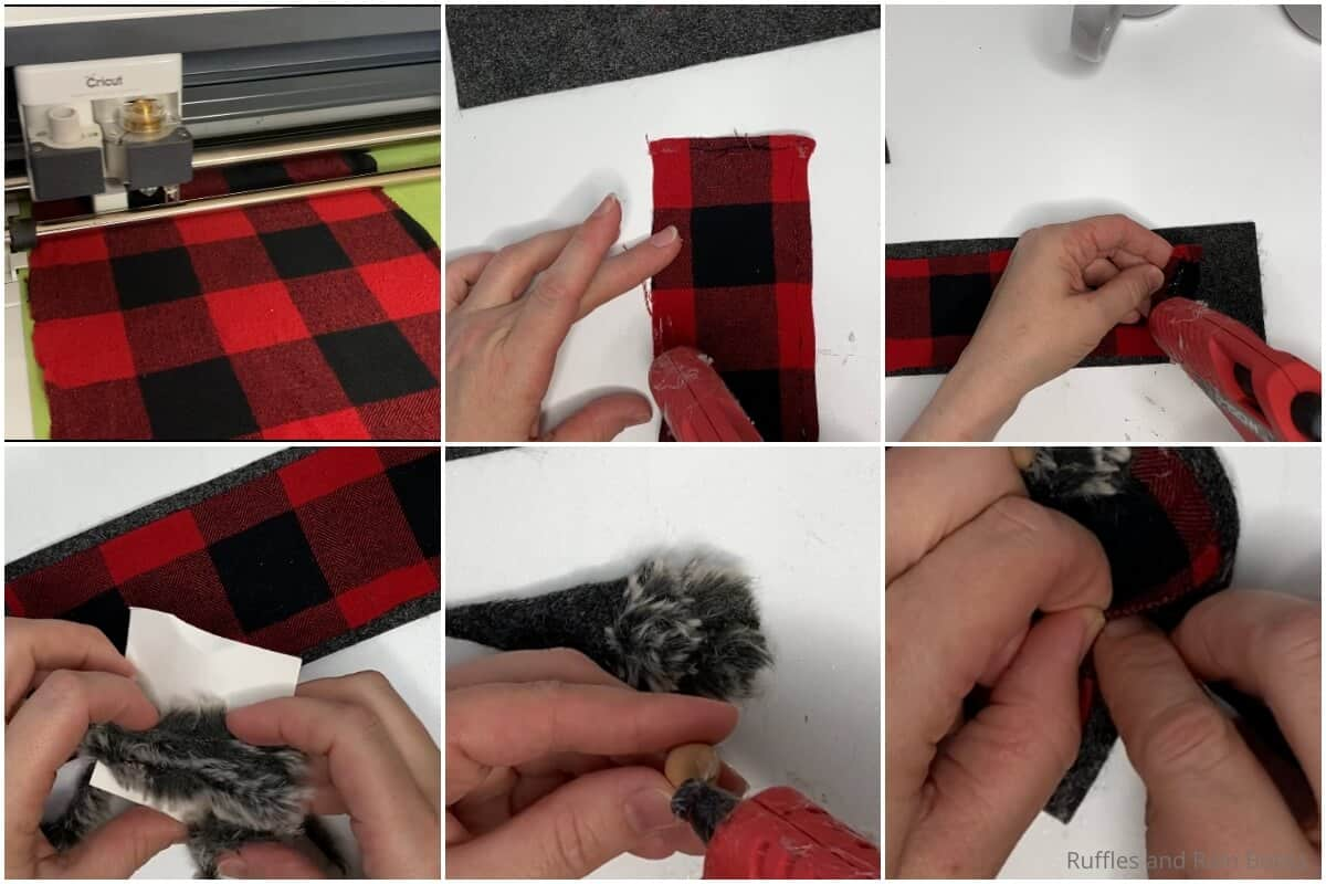 photo collage tutorial of how to make a no-sew gnome mug cozy