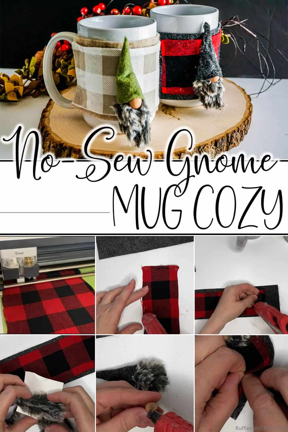 photo collage of diy gift idea of a mug wrap with text which reads no-sew gnome mug cozy