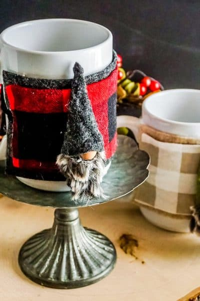 two versions of easy no-sew gnome mug cozy pattern