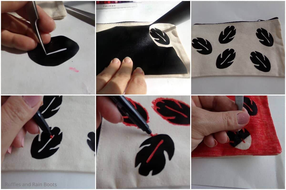 photo collage tutorial of how to make a diy disney character makeup bag