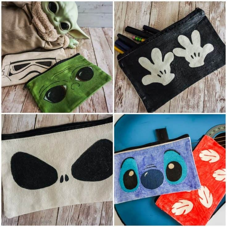 photo collage of easy diy disney cosmetic bags