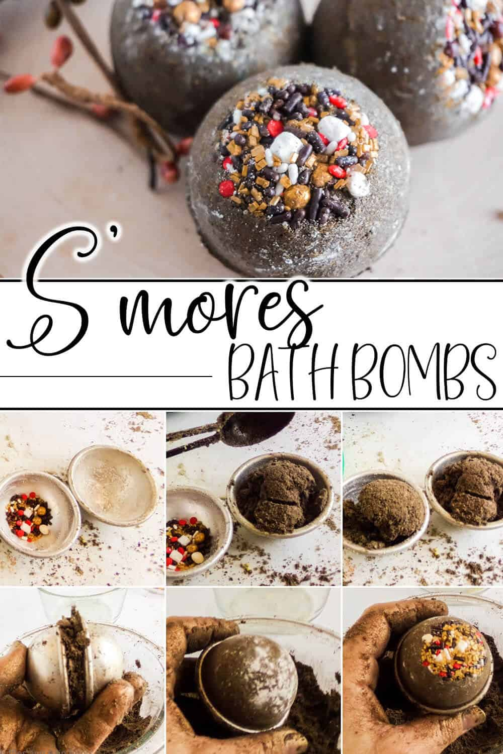 photo collage of easy bath bomb recipe for smores bath bombs with text which reads s'mores bath bombs