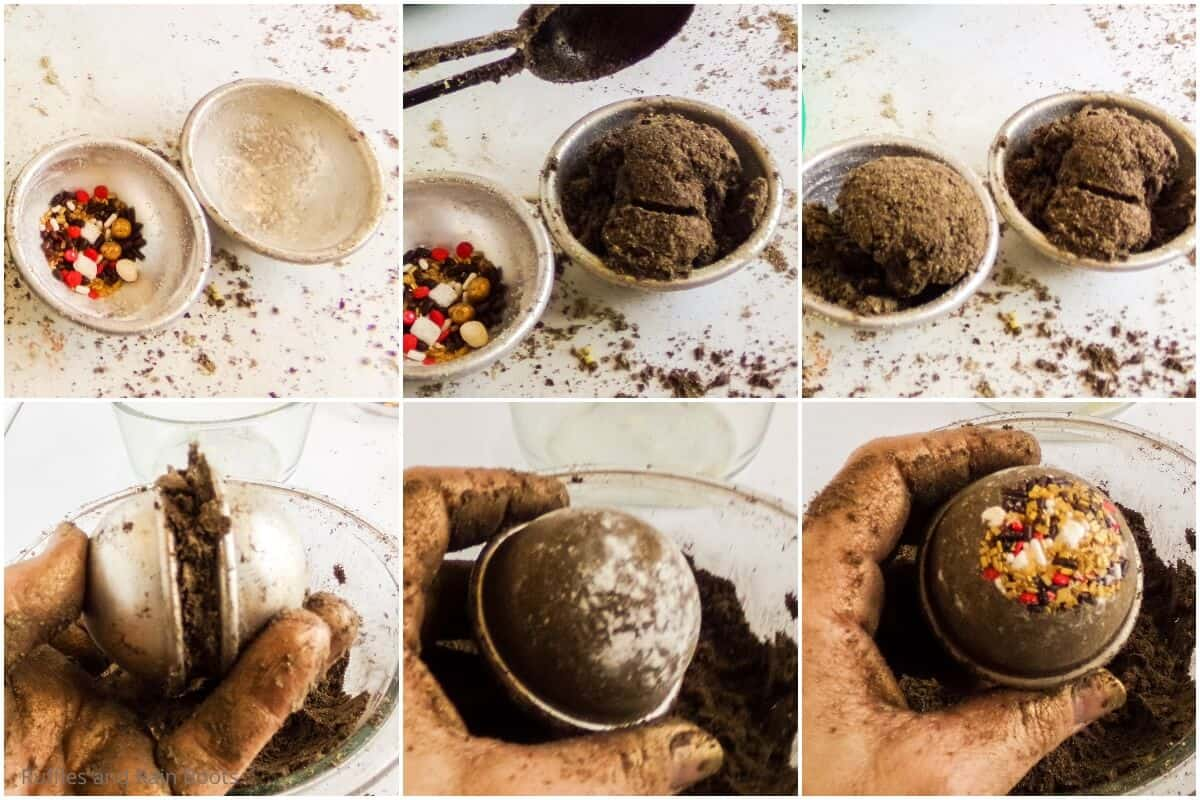 photo collage tutorial of how to make a smores bath bomb