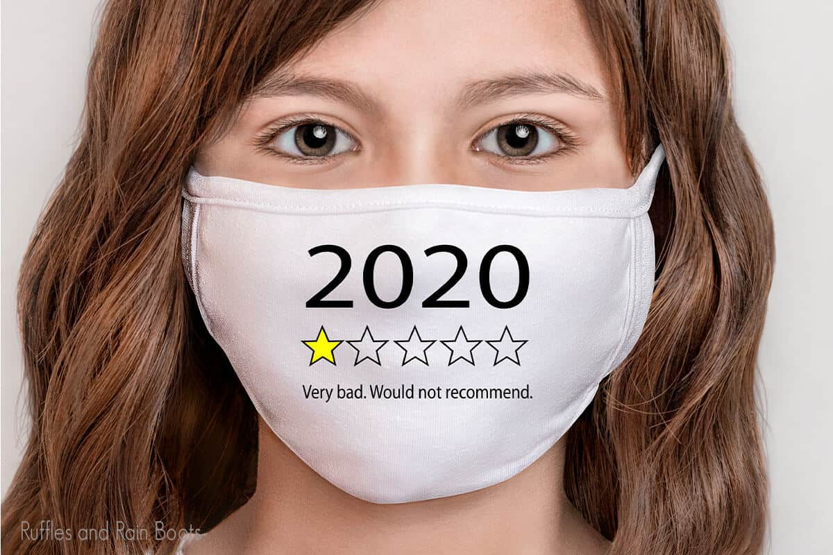 girl wearing a face mask with 2020 review SVG for Cricut or silhouette