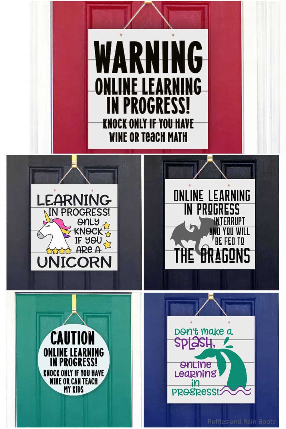 photo collage of funny svgs for online learning signs