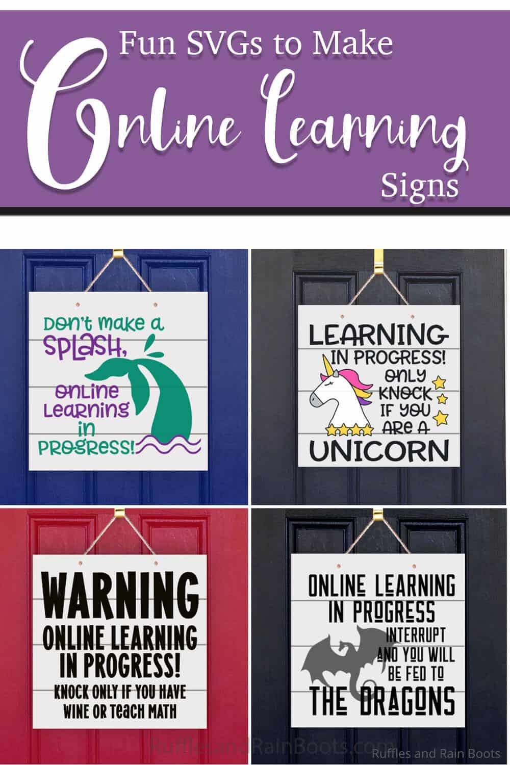photo collage of funny door sign svgs about online learning with text which reads fun SVGs to make online learning signs