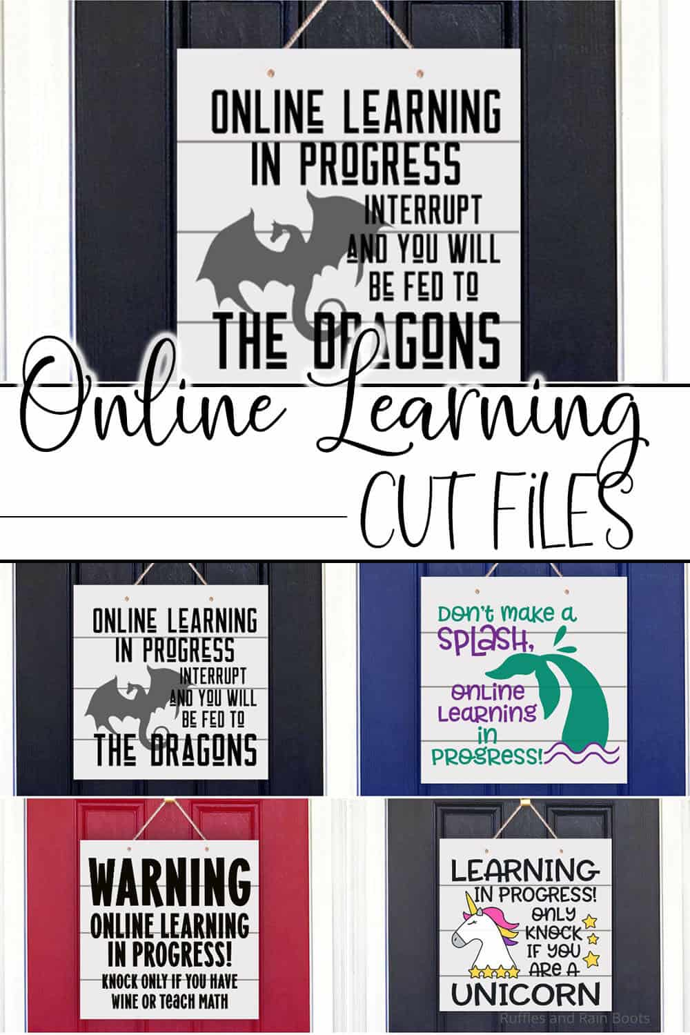 photo collage of photo collage of fun cut files for distance learning signs with text which reads online learning cut files