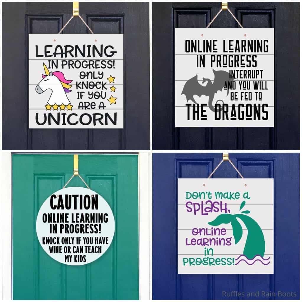 photo collage of online learning signs for the front door