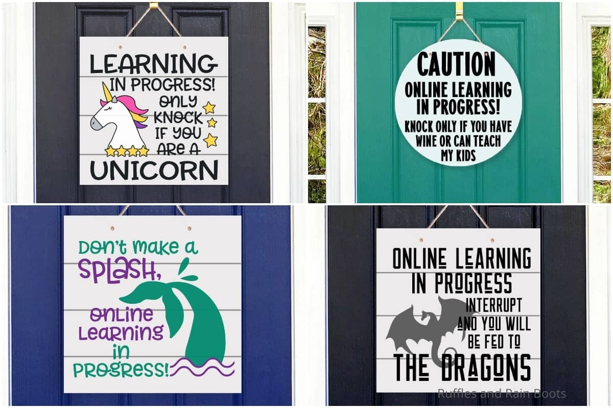 photo collage of distance learning signs for a front door
