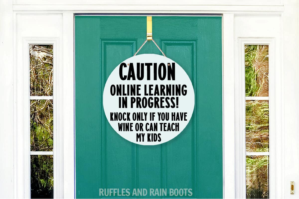 funny E learning door sign funny wine teach kids