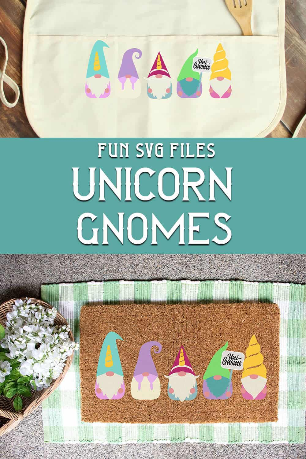 photo collage of easy weed unicorn gnome cut files wih text which reads fun SVG files unicorn gnomes