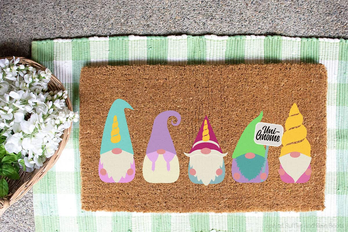 unicorn gnome SVG set for cricut or silhouette on a doormat
