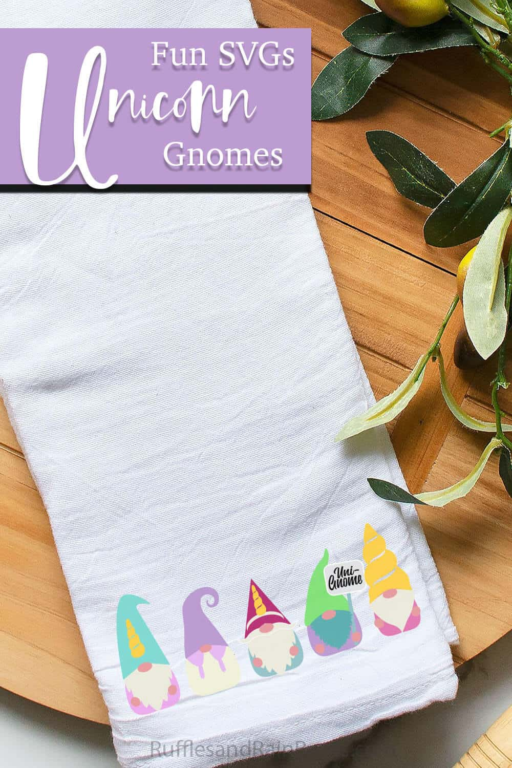 unicorn gnome sublimation design on a kitchen towel with text which reads fun SVGs unicorn gnomes