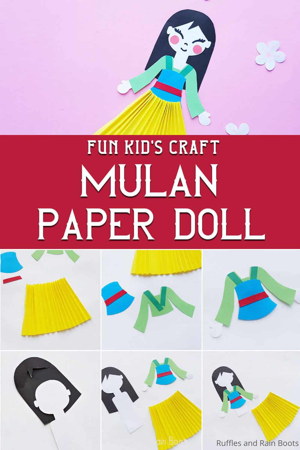 photo collage of easy paper craft for kids for a mulan movie night with text which reads fun kid's craft mulan paper doll