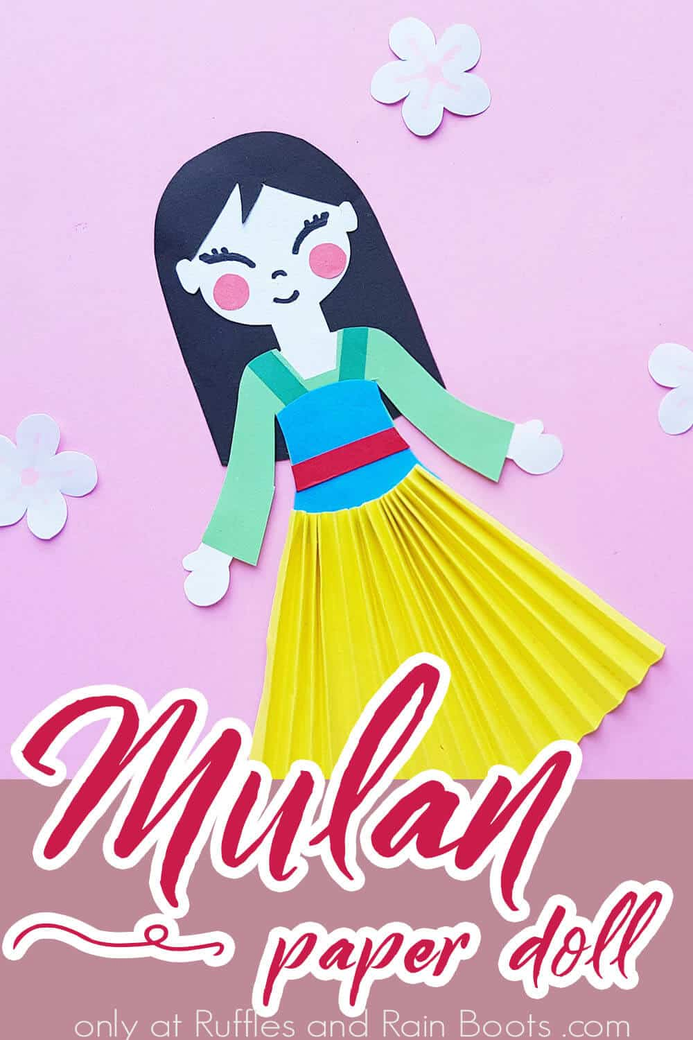 adorable mulan paper doll craft kids can make with text which reads mulan paper doll