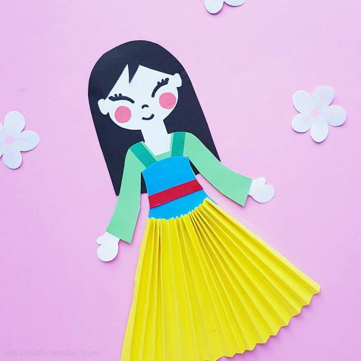disney's mulan paper doll kid's craft template and tutorial