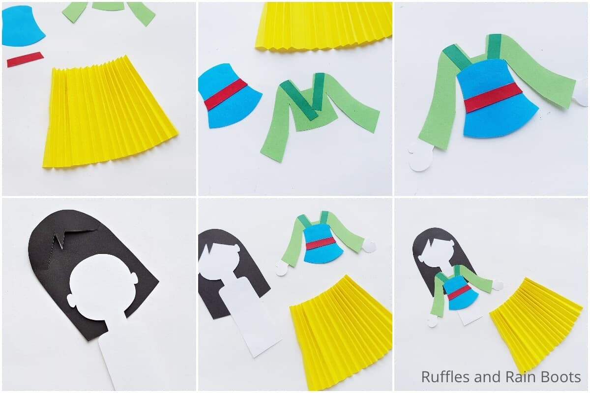 photo collage tutorial of how to make a mulan paper doll