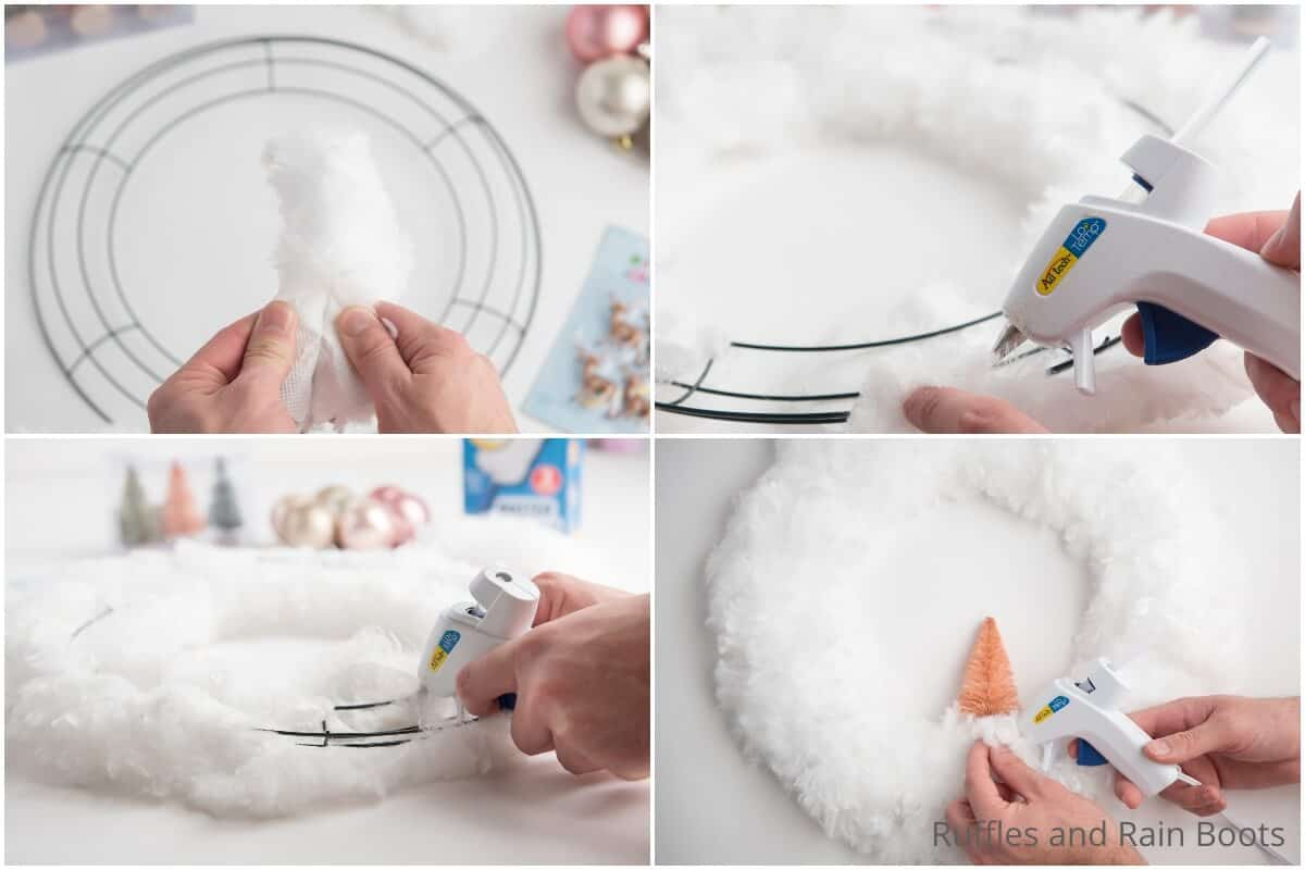 photo collage tutorial of how to make a dollar store duster wreath