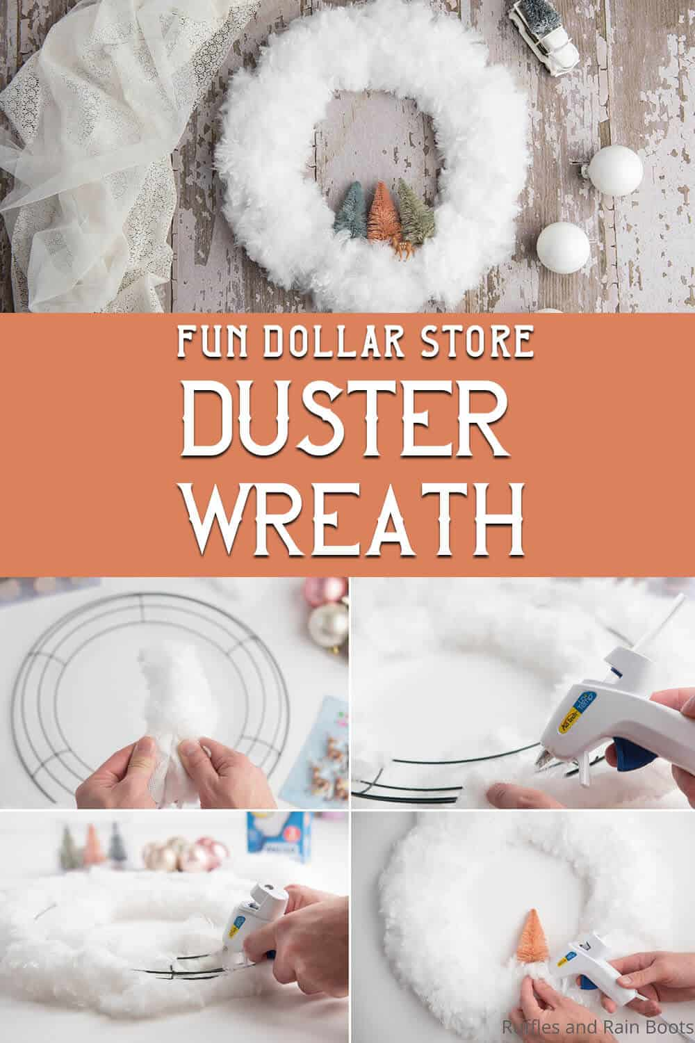 photo collage of easy dollar store wreath with text which reads fun dollar store duster wreath