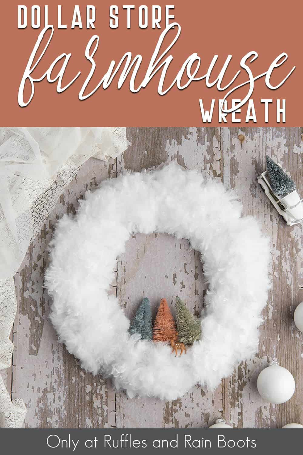 easy wreath from dollar store items with text which reads dollar store farmhouse wreath