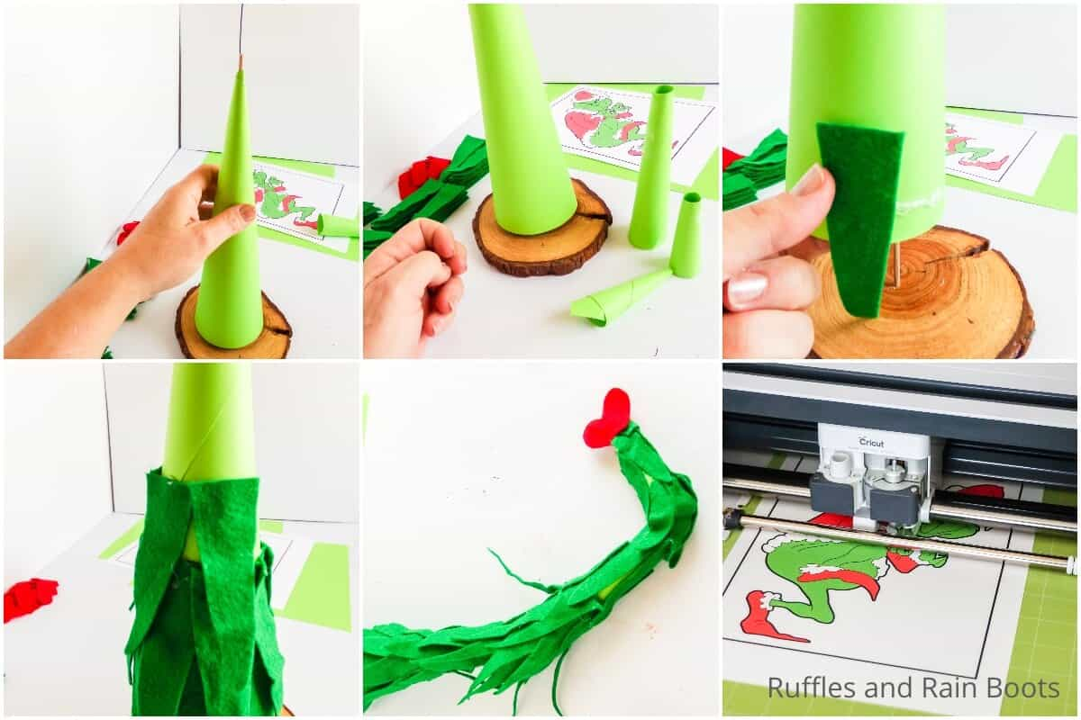 photo collage tutorial of how to make a diy grinch tree