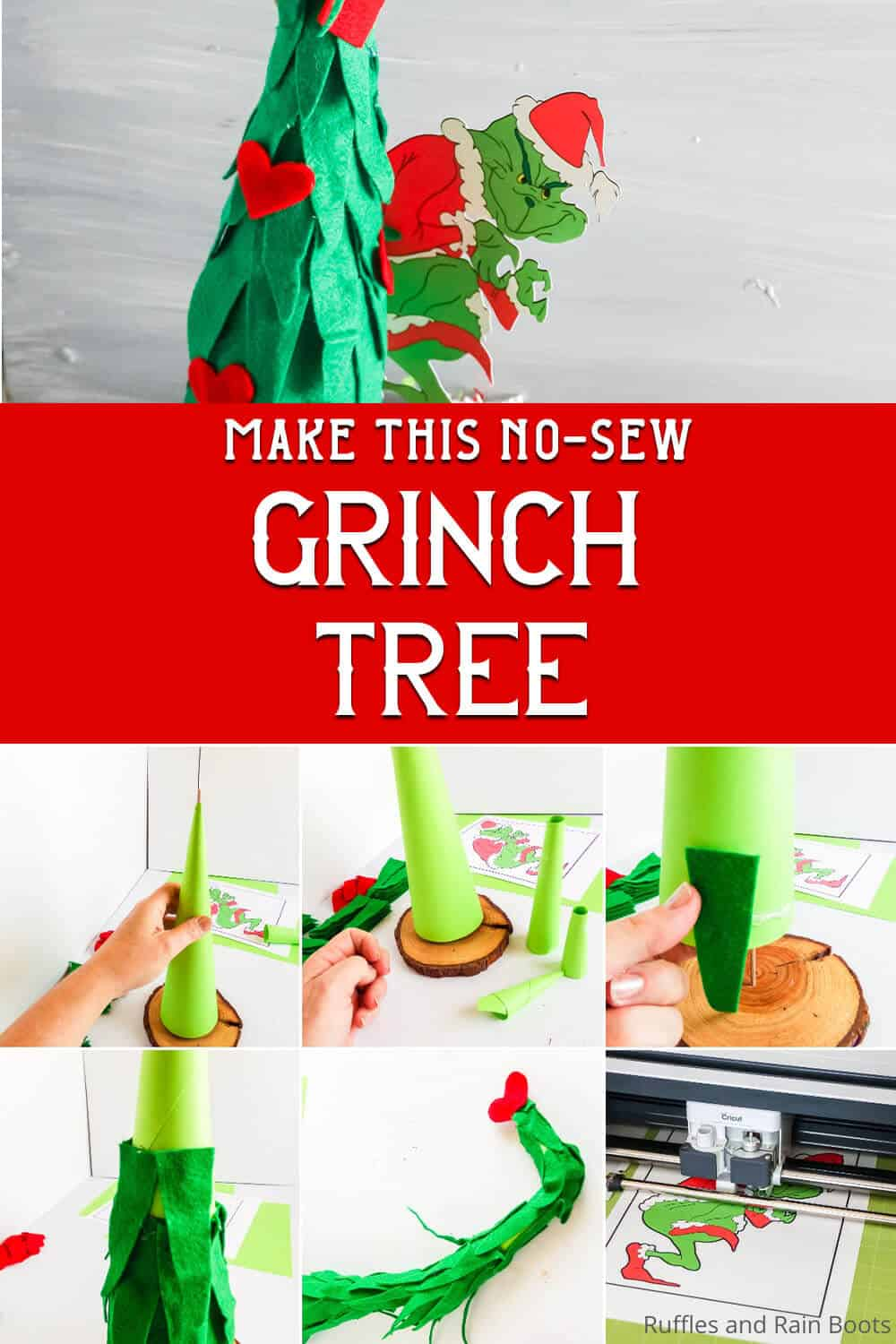 easy grinch craft for Christmas with text which reads make this no-sew grinch tree
