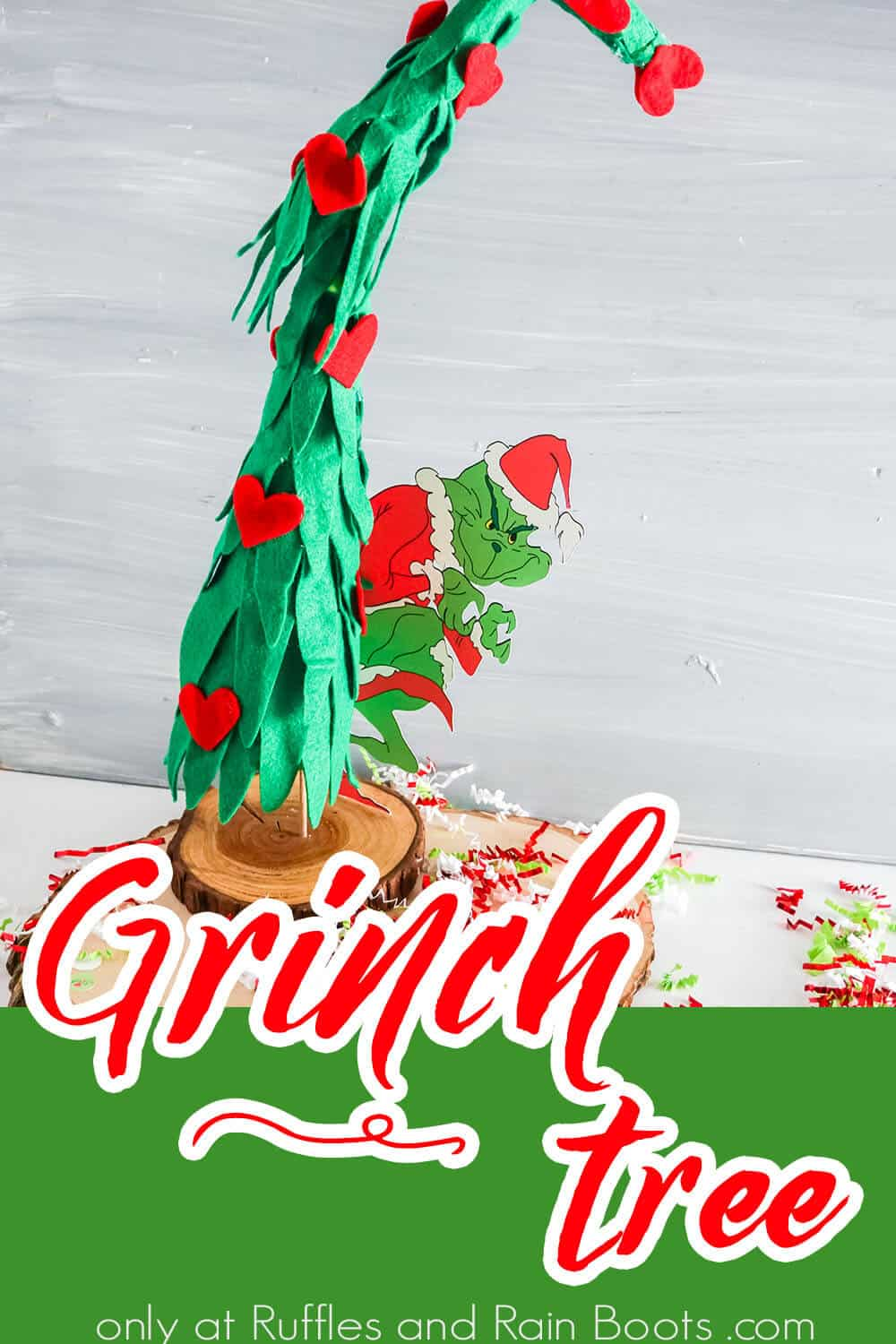 easy diy grinch holiday craft with text which reads grinch tree