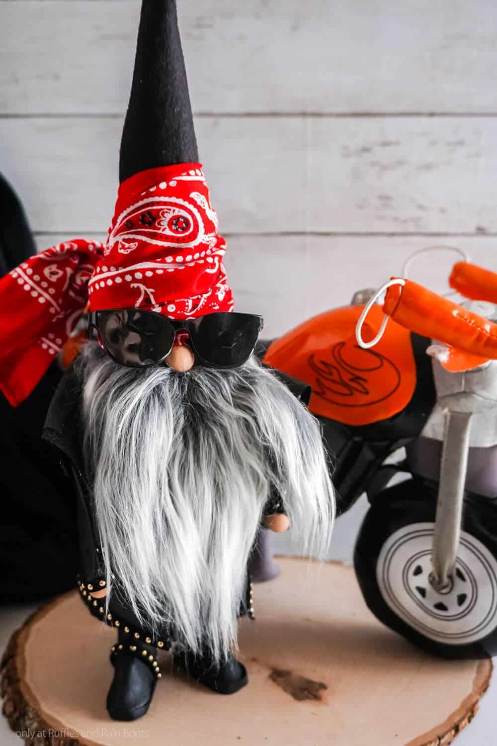 diy cone gnome without sewing with a motorcycle theme