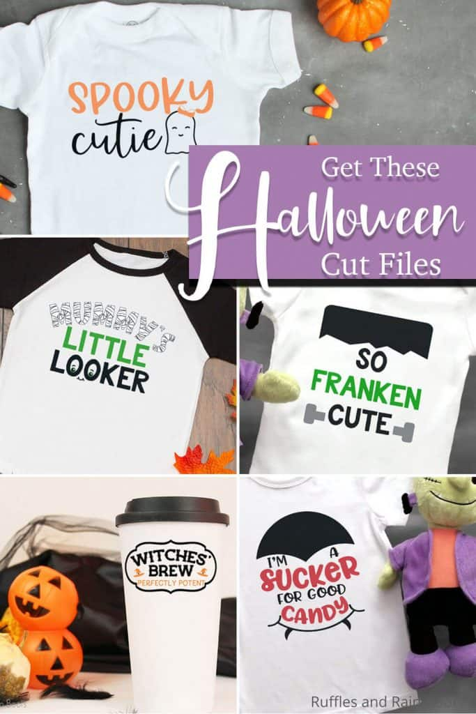 photo collage of cricut cut files with text which reads get these halloween cut files