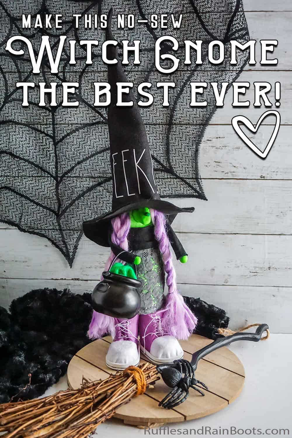 DIY no-sew gnome pattern for farmhouse halloween gnome with text which reads make this no-sew witch gnome the best ever!