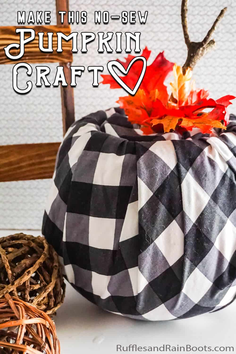 DIY buffalo check pumpkin with text which reads make this no-sew pumpkin craft