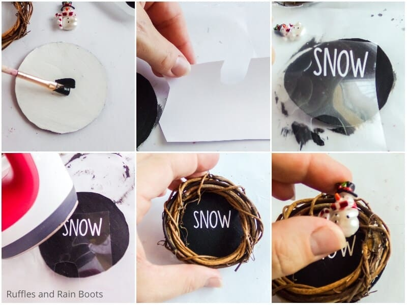 photo collage tutorial of how to make mini grapevine wreath ornaments