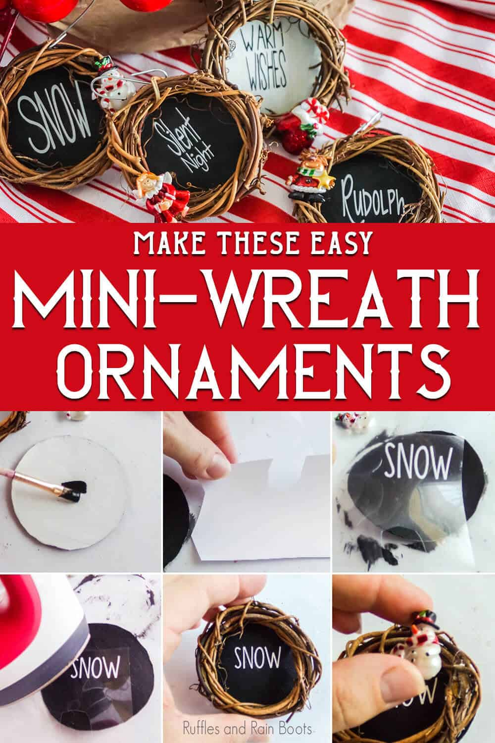 DIY christmas ornaments with text which reads make these easy mini-wreath ornaments