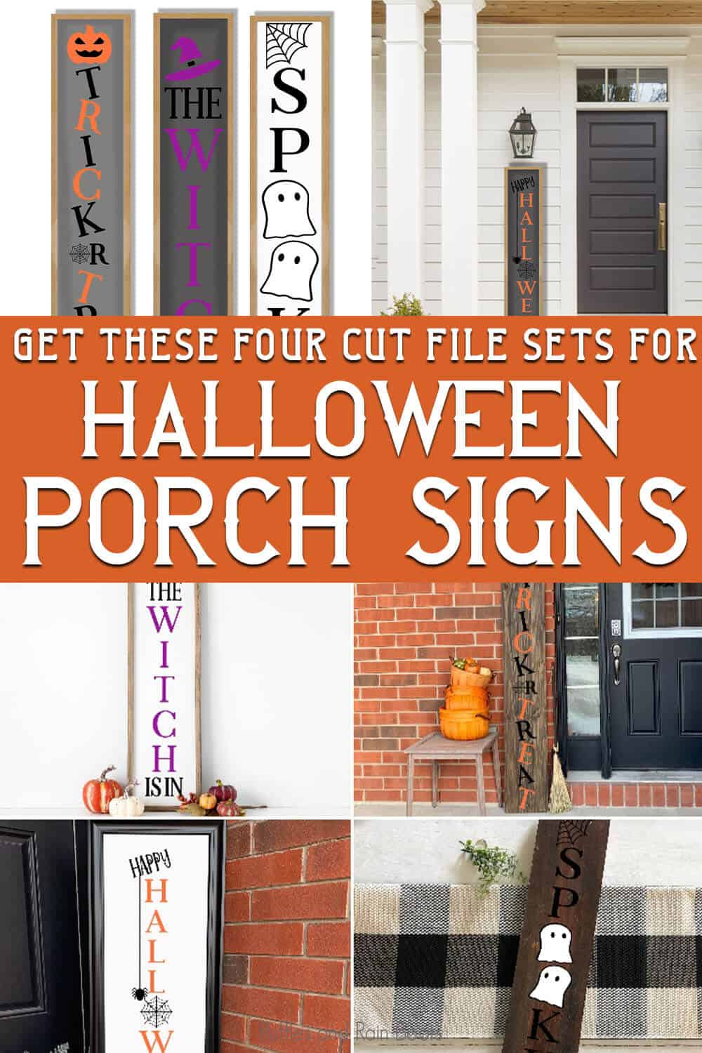 photo collage of easy halloween porch sign cut files for cricut with text which reads get these four cut file sets for halloween porch signs