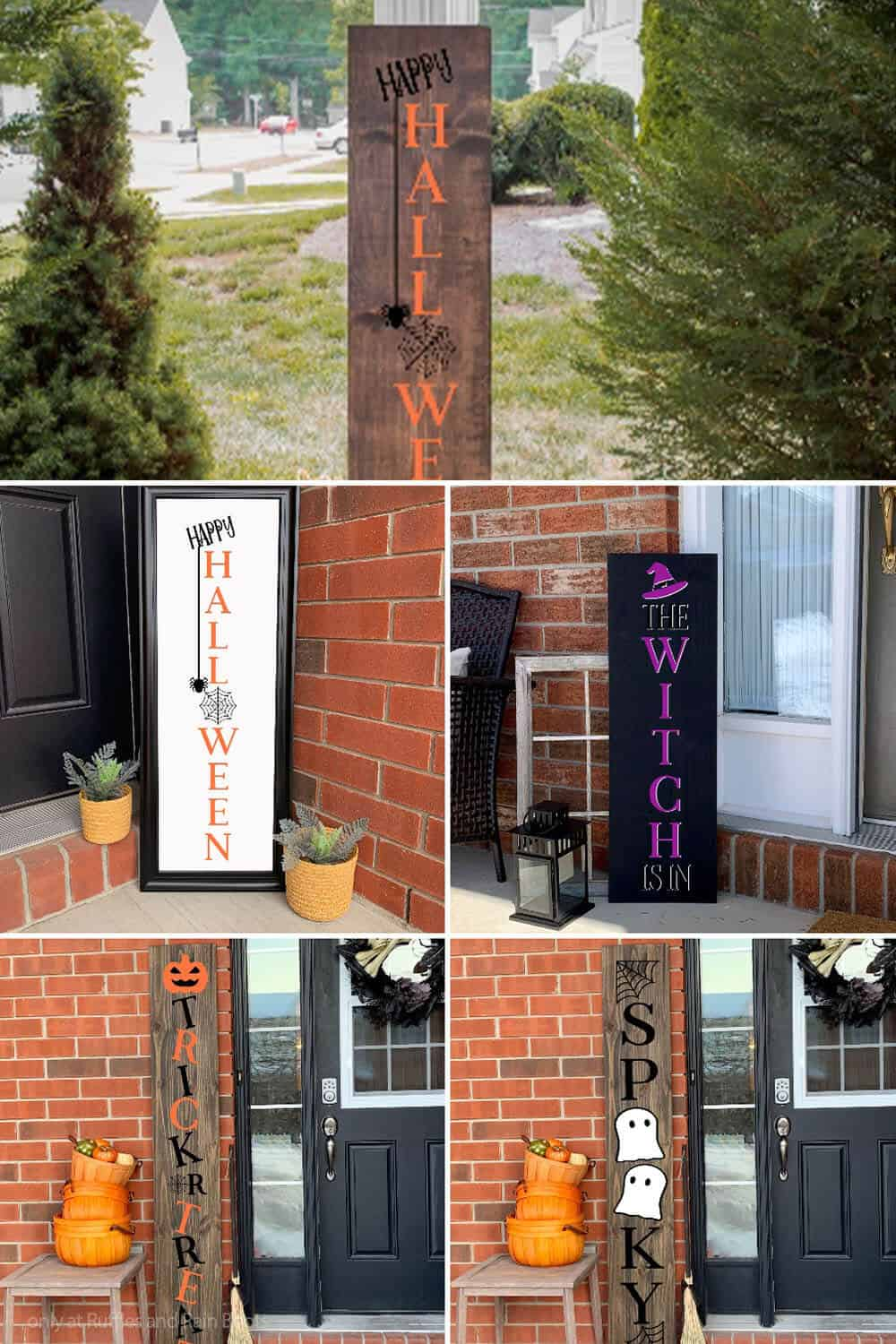 photo collage of vertical sign cut files for halloween