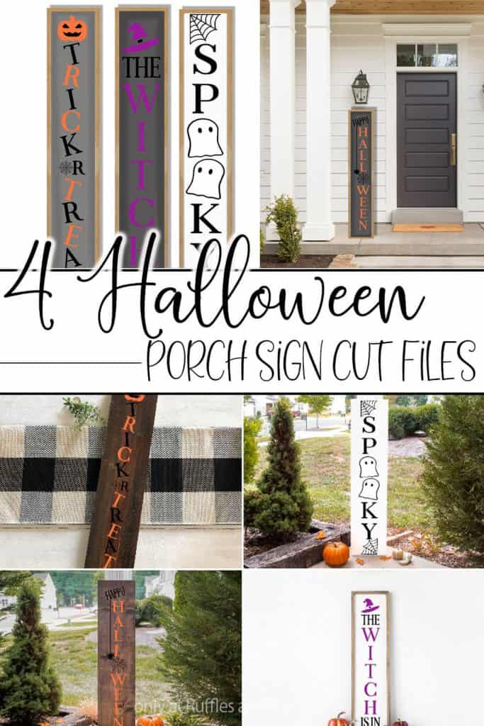 photo collage of of cut files for vertical porch signs for halloween with text which reads 4 halloween porch sign cut files