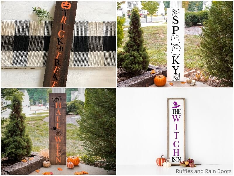 photo collage of four halloween sign cut file sets