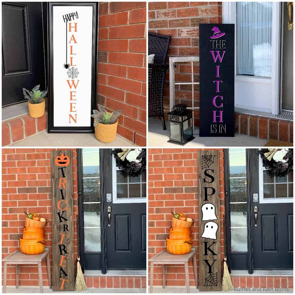 photo collage of 4 vertical halloween porch sign cut file sets for cricut or silhouette