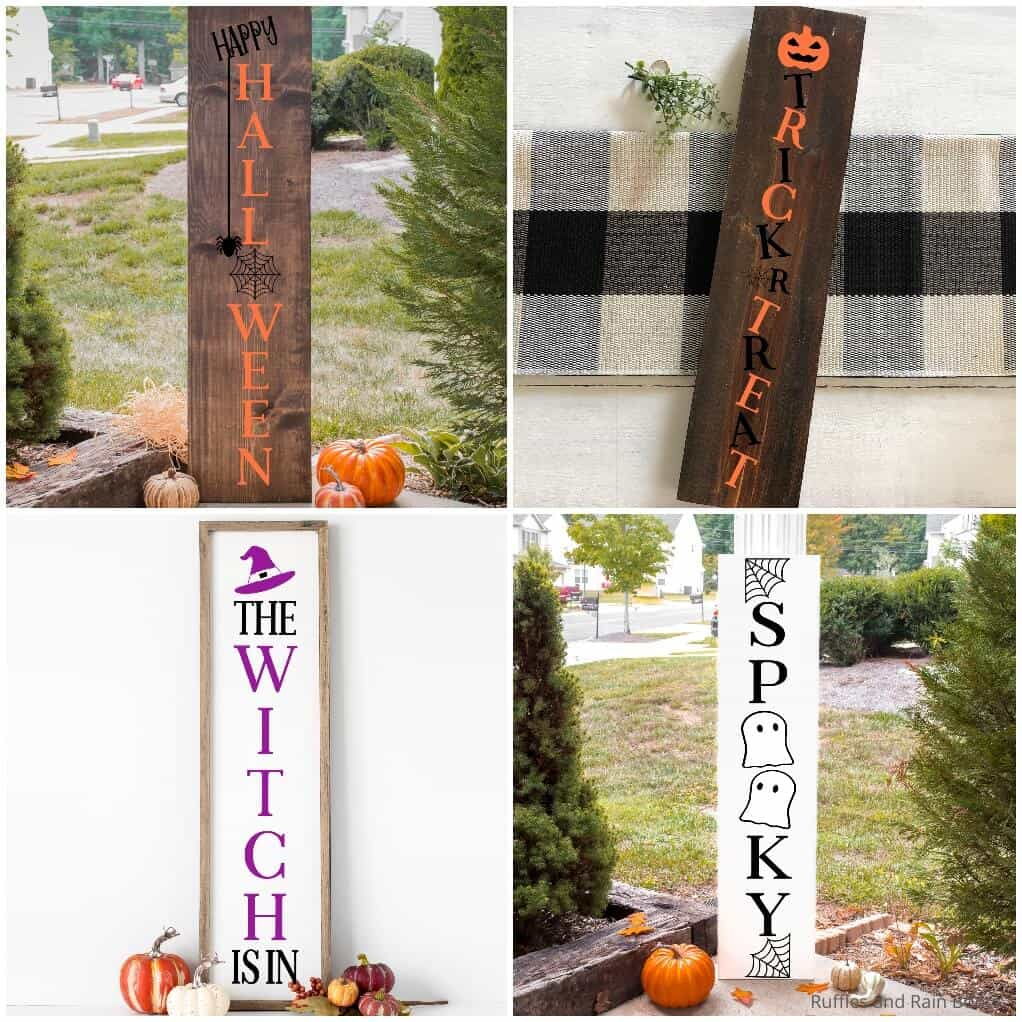 photo collage of 4 halloween vertical porch sign svg sets for cricut or silhouette (1)