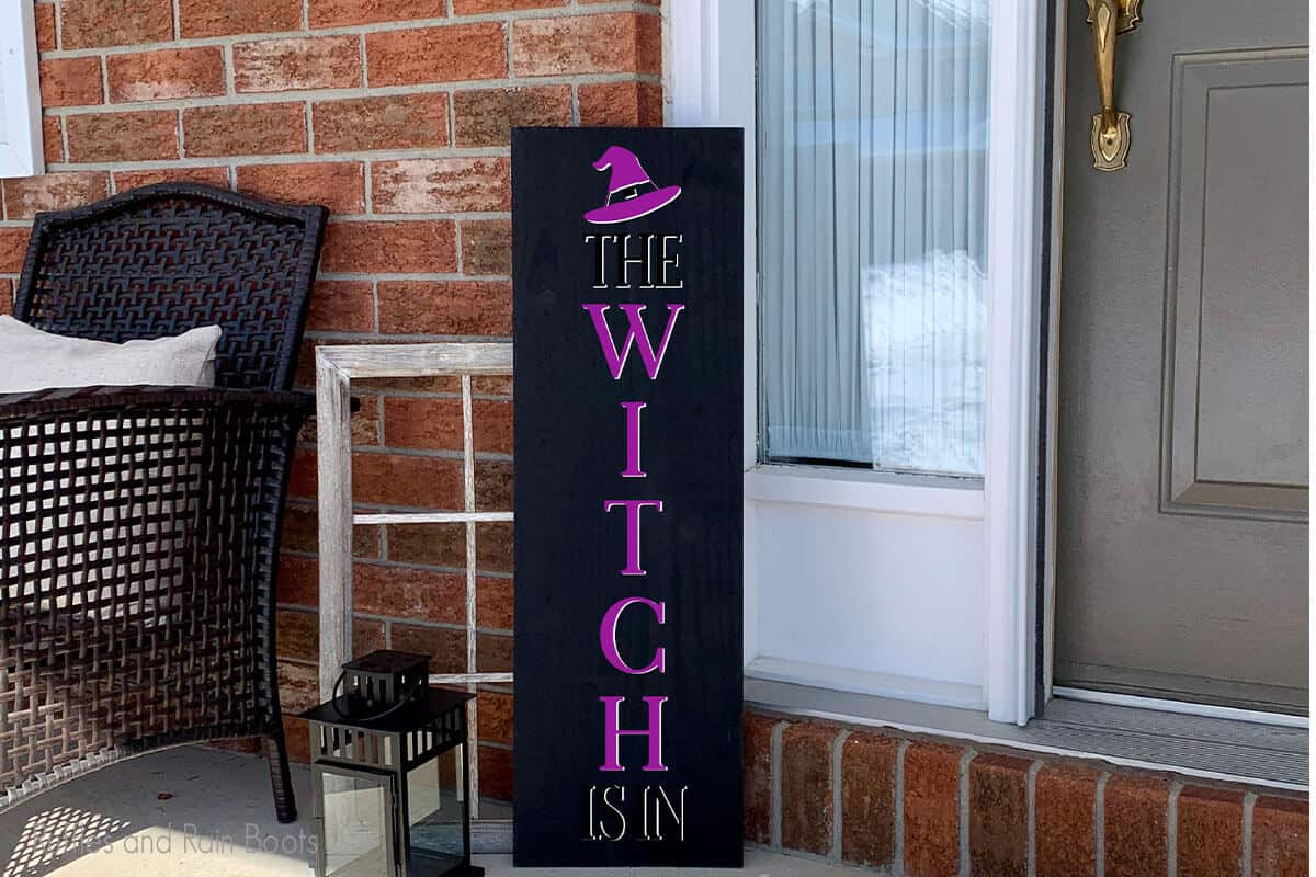 The Witch Is In Witch Vertical porch sign for halloween