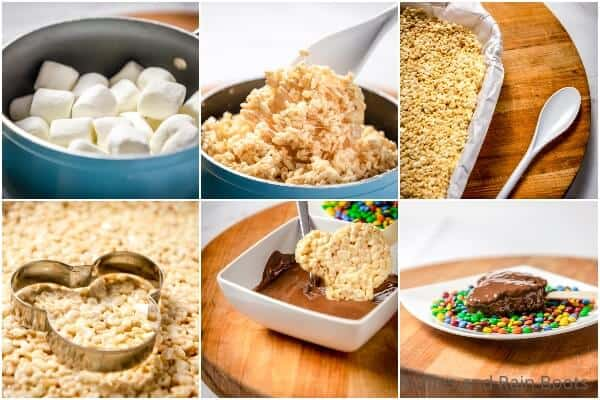 photo collage tutorial of how to make mickey rice krispies treats