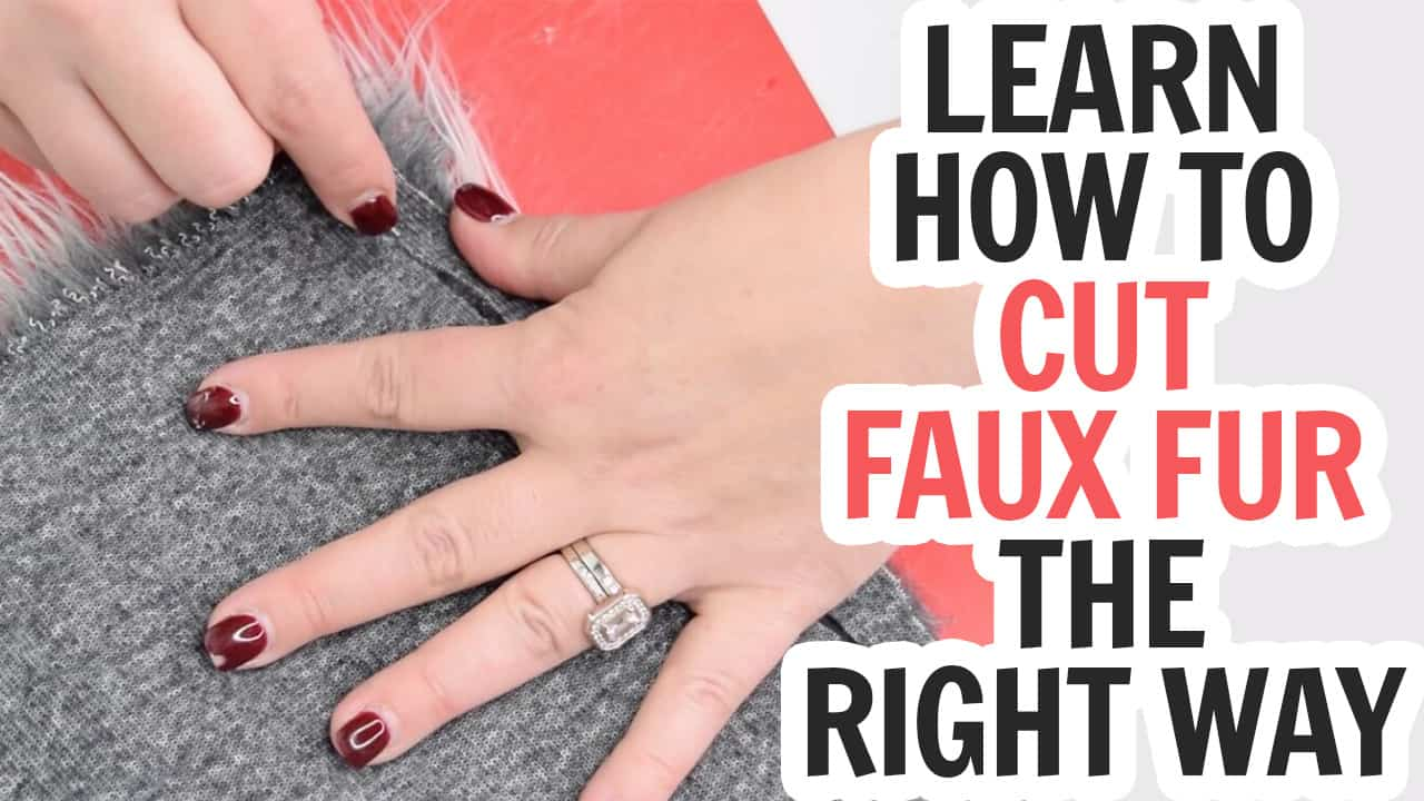 close up of hand on fur with text which reads learn how to cut faux fur the right way