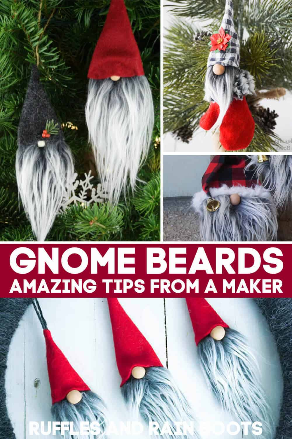 faux fur gnome beard collage with text which reads gnome beards amazing tips from a maker
