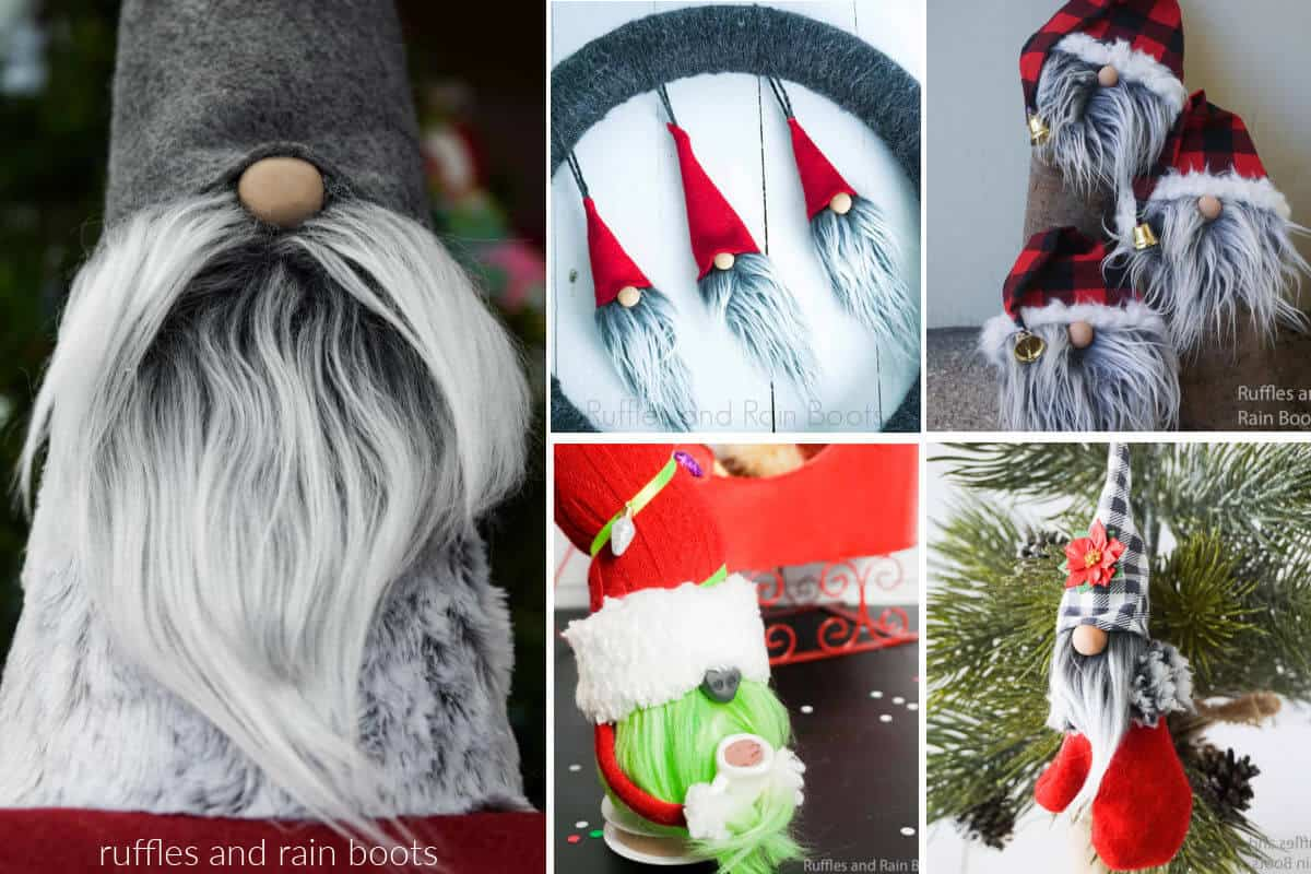 collage of gnome beard images from various fur and materials such as rope yarn moss and wool