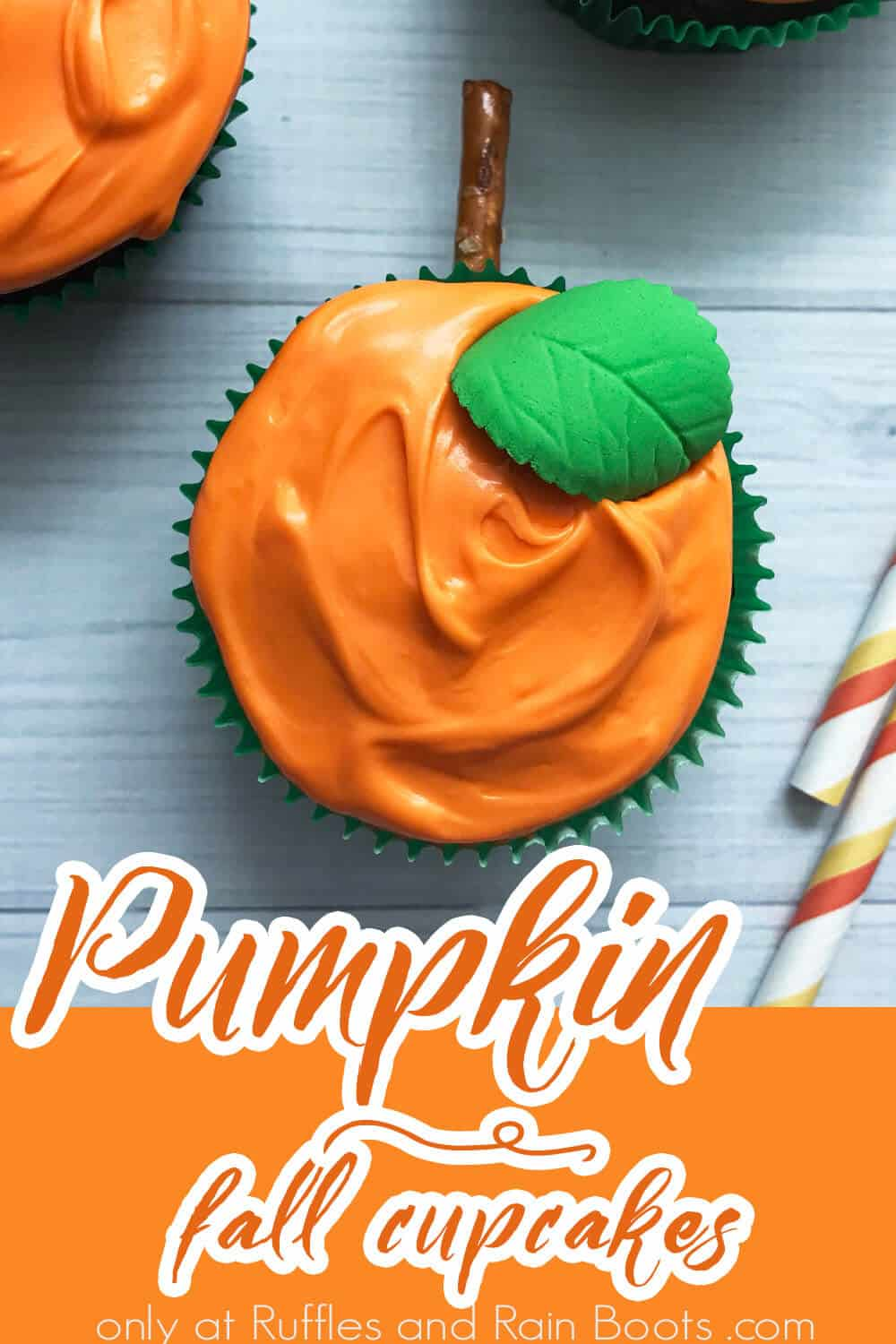 overhead view of easy pumpkin cupcake recipe with text which reads pumpkin fall cupcakes