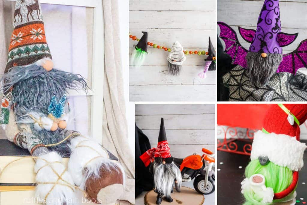 pretty collage showing examples of handmade homemade gnomes using fur fabric socks and more for christmas or seasonal decor