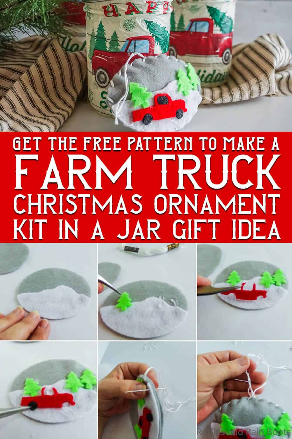 photo collage of easy christmas gift DIY craft with a red farm truck with text which reads get the free pattern to make a farm truck christmas ornament kit in a jar gift idea