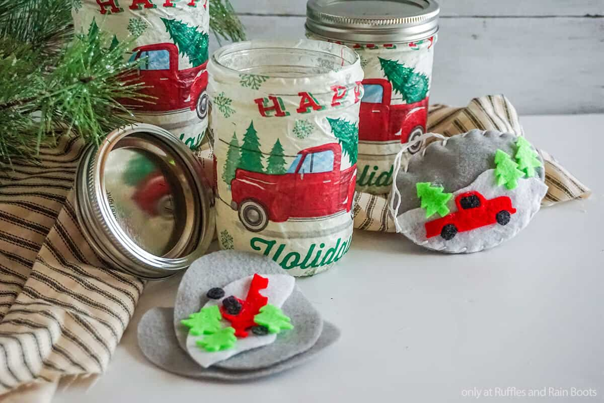red christmas farm truck ornament DIY kit in a mason jar gift idea