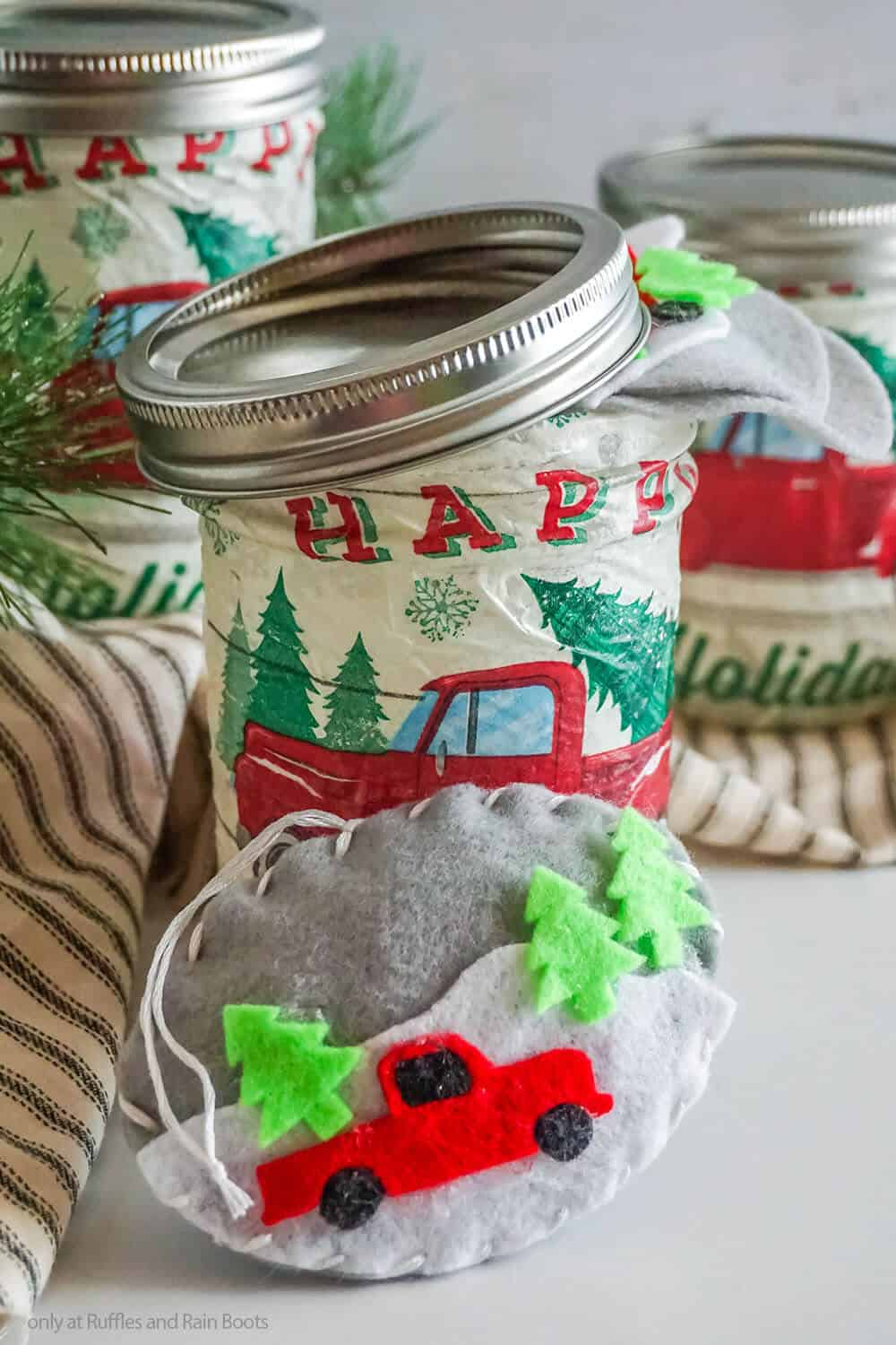 diy mason jar gift idea with a red farm truck